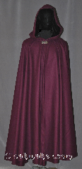Cloak:3550, Cloak Style:Full Circle Cloak, Cloak Color:Wine Purple, Fiber / Weave:50% Wool / 50% Poly, Cloak Clasp:Vale, Hood Lining:Black Velvet, Back Length:51&quot;, Neck Length:21&quot;, Seasons:Winter, Southern Winter, Fall, Spring, Note:&quot;Wine: a constant proof that God loves us,<br>and loves to see us happy!&quot; Benjamin Franklin<br>Show your love to someone by<br>keeping them warm and happy with this<br>wine colored full circle wool blend cloak.<br>Perfect for all cold weather locations<br>with a elegant black velvet<br>hood lining and Vale clasp.<br>Spot or dry clean only..