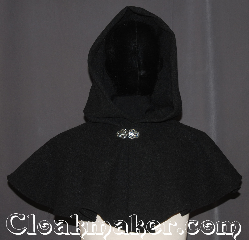 Cloak:3555, Cloak Style:Full Circle Cloak<br>Short Capelet, Cloak Color:Grey Heathered, Fiber / Weave:80% Wool<br>20% Nylon, Cloak Clasp:Vale, Hood Lining:Unlined, Back Length:14.5&quot;, Neck Length:21&quot;, Seasons:Winter, Southern Winter, Fall, Spring, Note:A perfect starter cloak for an adult or child.<br>A short capelet made from a heathered<br>grey wool blend adorned with a<br>classic vale hook-and-eye clasp.<br>Can be warn in top of another cloak<br>for a victorian look.<br>Spot or Dry Clean Only..