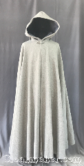 Cloak:3558, Cloak Style:Full Circle Cloak, Cloak Color:Cadet Grey Heathered, Fiber / Weave:80% Wool Melton<br>20% Nylon, Cloak Clasp:Triple Medallion, Hood Lining:Steel Blue Velveteen, Back Length:53&quot;, Neck Length:24.75&quot;, Seasons:Winter, Southern Winter, Fall, Spring, Note:A warm classic heathered grey<br>full circle cloak that will keep you<br>warm and dry on chilly nights.<br>This dense cloak has a steel blue velveteen<br>hood lining for extra comfort.<br>The final touch on this functional<br>and elegant cloak is a classic<br>triple medallion clasp.<br>Machine washable.