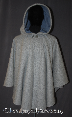 Cloak:3562, Cloak Style:Ruana, Cloak Color:Cadet Grey Heathered, Fiber / Weave:80% Wool Melton<br>20% Nylon, Cloak Clasp:Vale, Hood Lining:Steel Blue Velveteen, Back Length:33&quot; back<br>26.5&quot; side, Neck Length:20&quot;, Seasons:Winter, Southern Winter, Fall, Spring, Note:A warm classic heathered grey ruana<br>cloak that will keep you warm and<br>dry on chilly nights.<br>This dense cloak has a steel blue<br>velveteen hood lining for extra comfort.<br>A cross between a cape and a cloak,<br>a ruana is a great way to keep warm<br>while frequent, unhindered use of<br>your arms is needed.<br>With an overarm of 26.5&quot; and<br>makes a great driving cloak!<br> The final touch on this functional and<br>elegant cloak is a classic vale clasp.<br>Machine washable.