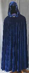 Cloak:3567, Cloak Style:Full Circle Cloak, Cloak Color:Royal Blue, Fiber / Weave:Velvet, Cloak Clasp:Vale, Hood Lining:Unlined, Back Length:58&quot;, Neck Length:22&quot;, Seasons:Spring, Summer, Fall, Note:This royal blue velvet full circle cloak<br>has a lovely lightweight flow and feel.<br>Perfect for cool evenings or an accent<br>to that outfit or costume.<br>Accented with a silvertone valeclasp.<br>Best of all machine washable..
