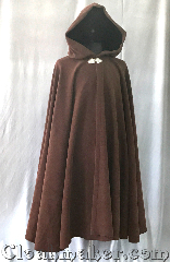 Cloak:3568, Cloak Style:Full Circle Cloak, Cloak Color:Dark Brown/Rust, Fiber / Weave:Wool Blend, Cloak Clasp:Triple Medallion, Hood Lining:Dark Brown/Rust Velvet, Back Length:45&quot;, Neck Length:21.5&quot;, Seasons:Fall, Spring, Southern Winter, Note:An incredible rich dark brown with hints<br>of rust, this full circle cloak has a<br>soft wool texture with a classic look.<br>It is heavy.<br>Perfect for cold evenings and accented<br>with a silvertone triple medallion clasp.<br>Dry clean only..