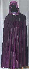 Cloak:3569, Cloak Style:Full Circle Cloak, Cloak Color:Royal Purple, Fiber / Weave:Velvet, Cloak Clasp:Vale, Hood Lining:Unlined, Back Length:59&quot;, Neck Length:21&quot;, Seasons:Spring, Fall, Summer, Note:This royal purple velvet full circle cloak<br>has a lovely lightweight flow and feel.<br>Perfect for cool evenings or an<br>accent to that outfit or costume.<br>Accented with a silvertone vale clasp.<br>Best of all machine washable..