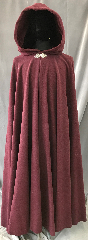 "Cloak:3572, Cloak Style:Full Circle Cloak, Cloak Color:Heathered Burgundy Red Wine, Fiber / Weave:80% Wool 20% Nylon, Cloak Clasp:Triple Medallion, Hood Lining:Red so-dark-it's-almost-black Velveteen, Back Length:55"", Neck Length:21.75"", Seasons:Winter, Southern Winter, Fall, Spring."