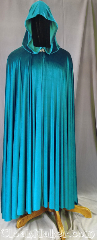 Cloak:3575, Cloak Style:Full Circle Cloak, Cloak Color:Teal, Fiber / Weave:Polyester Velvet, Cloak Clasp:Vale, Hood Lining:Unlined, Back Length:53&quot;, Neck Length:27&quot;, Seasons:Spring, Fall, Summer, Note:This teal velvet full circle cloak has a<br>lovely lightweight flow and feel.<br>Perfect for cool evenings or an<br>accent to that outfit or costume.<br>Accented with a silvertone vale clasp.<br>Best of all machine washable..