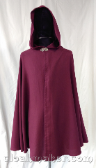 Cloak:3579, Cloak Style:Full Circle Cloak, Cloak Color:Burgundy Wine, Fiber / Weave:Polyester Twill, Cloak Clasp:Vale, Hood Lining:Unlined, Back Length:39&quot;, Neck Length:21&quot;, Seasons:Spring, Fall, Summer, Note:Warm burgundy wine color<br>this is a simple cloak for cosplay<br>or warmth, made of suit grade polyester.<br>Wash and dry and wear..