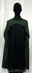 Cloak:3581, Cloak Style:Half Circle, Cloak Color:Pine Green, Fiber / Weave:100% Wool, Cloak Clasp:Buttons, Hood Lining:N/A, Back Length:52&quot;, Neck Length:19&quot;, Seasons:Spring, Fall, Summer, Note:A light weight cloak designed to show-off<br>what&#039;s underneath, whether that be a<br>suit of armor or a beautiful gown.<br>And no hood to get in the way!<br>The color is complimentary to most greens,<br>from the yellow to the blue hues.<br>100% Wool with easy care..
