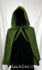 Cloak:3583, Cloak Style:Full Circle Cloak, Cloak Color:Moss Green, Fiber / Weave:100% Wool, Cloak Clasp:Ties, Hood Lining:Unlined, Back Length:32&quot;, Neck Length:17&quot;, Seasons:Spring, Fall, Note:A light weight Hobbit cloak,<br>or knight&#039;s cloak, designed to<br>show-off what&#039;s underneath,<br>whether that be a suit of armor<br>or a beautiful gown..