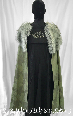 Cloak:3586, Cloak Style:Half Circle, Cloak Color:Green, Fiber / Weave:100% Polyester, Cloak Clasp:Ties, Hood Lining:N/A<br>Fur collar, Back Length:47&quot;, Neck Length:24&quot;, Seasons:Fall, Southern Winter, Note:Sansa or Catelyn Stark, this price<br>includes furred cloak only..