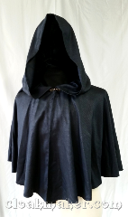 "Cloak:3587, Cloak Style:Full Circle Cloak, Cloak Color:Blue/Black, Fiber / Weave:100% Wool, Cloak Clasp:Special, Hood Lining:Unlined, Back Length:20"", Neck Length:20"", Seasons:Fall, Spring, Summer, Note:Blue/black bird's eye weave.."