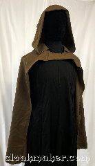 Cloak:3589, Cloak Style:Half Circle, Cloak Color:Light Brown, Fiber / Weave:Wool, Cloak Clasp:Buttons added upon order, Hood Lining:Unlined, Back Length:39&quot;, Neck Length:20&quot;, Seasons:Spring, Fall, Summer, Note:A light weight Hobbit cloak,<br>or knight&#039;s cloak, designed to<br>show-off what&#039;s underneath,<br>whether that be a suit of armor<br>or a beautiful gown..
