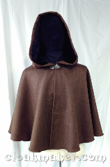 "Cloak:3596, Cloak Style:Full Circle Cloak, Cloak Color:brown, black, rust, Fiber / Weave:100% Wool, Cloak Clasp:Vale, Hood Lining:Black velvet, Back Length:25"", Neck Length:20.5"", Seasons:Spring, Fall."