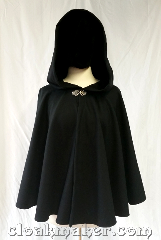 Cloak:3604, Cloak Style:Full Circle Cloak, Cloak Color:Black twill, Fiber / Weave:80% wool,<br> 20% nylon, Cloak Clasp:Vale, Hood Lining:Unlined, Back Length:25&quot;, Neck Length:22&quot;, Seasons:Spring, Fall, Note:Black wool short cloak with<br>a Vale clasp and unlined hood.&nbsp;.