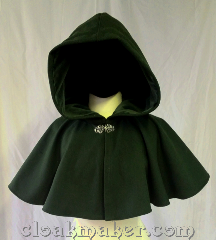 Cloak:3605, Cloak Style:Full Circle Cloak, Cloak Color:Dark Pine Green, Fiber / Weave:80% wool,<br> 20% nylon, Cloak Clasp:Vale, Hood Lining:Green cotton velveteen, Back Length:14.5&quot;, Neck Length:18&quot;, Seasons:Spring, Fall, Southern Winter, Winter.
