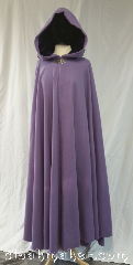 Cloak:3608, Cloak Style:Full Circle Cloak, Cloak Color:Lavender, Fiber / Weave:80% wool,<br> 20% nylon, Cloak Clasp:Triple Medallion, Hood Lining:Dark purple velvet, Back Length:55&quot;, Neck Length:21&quot;, Seasons:Winter, Southern Winter, Spring, Fall, Note:This luscious lavendar full circle creation<br> is perfect for a stroll in the whites of winter,<br>the new greens of spring, or the<br>reds and golds of fall.<br>In an 80/20 wool blend it is easy care<br>fabric but requires dry cleaning..
