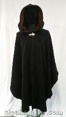 Cloak:3613, Cloak Style:Ruana Shape Shoulder Cloak, Cloak Color:Black, Fiber / Weave:Wind Block fleece, Cloak Clasp:Triple Medallion, Hood Lining:Self lining Brown, Back Length:43&quot;, Neck Length:23&quot;, Seasons:Winter, Southern Winter, Spring, Fall, Note:This is the ruana shaped-shoulder cloak<br>for any outdoor lover.<br>Wind proof and water proof,<br>it is made with the finest neoprene<br>membrane pressed between two<br>of the softest layers of fleece.<br>A treat to wear and handsome,<br>as well as useful.<br>A good brushing can get out most dirt,<br>but Handwash only as needed, drip dry..