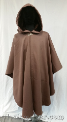 Cloak:3614, Cloak Style:Ruana, Cloak Color:Khaki Brown, Fiber / Weave:100% wool doublecloth, Cloak Clasp:Vale, Hood Lining:Brown Velvet, Back Length:44&quot;, Neck Length:23&quot;, Seasons:Winter, Southern Winter, Spring, Fall, Note:Why wear a trenchcoat when you can<br>really make a style statement.<br>This khaki brown ruana cloak<br>made with wool doublecloth is just<br>the impression you want to make.<br>Short on the sides, so you can navigate<br>the turnstiles of your busy life,<br>with a dark brown velvet hood to<br>keep out the weather.<br>Dry clean only..