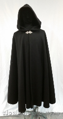 Cloak:3617, Cloak Style:Shape Shoulder Cloak, Cloak Color:Black, Fiber / Weave:80% wool,<br> 20% nylon, Cloak Clasp:Triple Medallion, Hood Lining:Unlined, Back Length:42&quot;, Neck Length:20&quot;, Seasons:Winter, Southern Winter, Spring, Fall, Note:Heavy black wool to keep you<br>toasty warm on a chilly autumn<br>morn, while you hike through the<br>heather to your favorite spot.<br>Or, just stroll to the corner for a<br>mochachino latte.<br>Dry clean only, but heavy enough<br>that a good brushing will keep this<br>cloak looking great for years..
