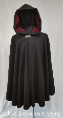 Cloak:3619, Cloak Style:Full Circle Cloak, Cloak Color:Black, Fiber / Weave:80% wool,<br> 20% nylon, Cloak Clasp:Vale, Hood Lining:Red, darker than<br>Black Velvet, Back Length:38&quot;, Neck Length:21&quot;, Seasons:Southern Winter, Spring, Fall, Note:Dark herringbone weave wool fabric<br>gives this cloak a handmade finish,<br>while the darker than night red of the<br>hood lining lends a dramatic flair.<br>Hiking the moors or hopping<br>subway cars, you&#039;ll command attention<br>in this beautiful cloak.<br>Dry clean only..