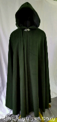 Cloak:3620, Cloak Style:Full Circle Cloak, Cloak Color:Deep Mossy Hunter Green, Fiber / Weave:100% Wool, Cloak Clasp:Triple Medallion, Hood Lining:Green cotton/polyester moleskin, Back Length:58&quot;, Neck Length:23&quot;, Seasons:Southern Winter, Spring, Fall, Winter, Note:This full circle cloak is a beautiful deep<br>mossy hunter green color with a<br>green cotton/polyester moleskin hood lining.<br>Like the shadows lining the<br>undersides of forest trees.<br>This cloak will keep you safe and<br>warm from the cold and chilly winds.<br>Dry clean only..