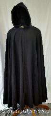 Cloak:3621, Cloak Style:Full Circle Cloak, Cloak Color:Black Herringbone Weave, Fiber / Weave:80% wool<br>20% nylon, Cloak Clasp:Triple Medallion, Hood Lining:Black polyester Velvet, Back Length:54&quot;, Neck Length:21&quot;, Seasons:Southern Winter, Spring, Fall, Note:This full circle cloak is a black<br>herringbone weave color with a<br>black polyester velvet hood lining.<br>Dry clean only..