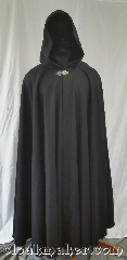 Cloak:3623, Cloak Style:Full Circle Cloak, Cloak Color:Black, Fiber / Weave:80% wool<br>20% nylon, Cloak Clasp:Triple Medallion, Hood Lining:Black Polyester Velvet, Back Length:50&quot;, Neck Length:25&quot;, Seasons:Southern Winter, Winter, Fall, Spring, Note:This full circle cloak is a dark black<br>color with a black polyester<br>velvet hood lining.<br>An excellent way to keep warm<br>during the cold months.<br>Dry clean only..