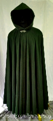 Cloak:3624, Cloak Style:Full Circle Cloak, Cloak Color:Deep Mossy Hunter Green, Fiber / Weave:100% Brushed Wool Coating, Cloak Clasp:Triple Medallion, Hood Lining:Brown polyester Velvet, Back Length:59&quot;, Neck Length:24&quot;, Seasons:Southern Winter, Spring, Fall, Note:This full circle cloak is a beautiful deep<br>mossy hunter green color with a<br> brown polyester velvet hood lining.<br>Like the shadows lining the<br>undersides of forest trees.<br>This cloak is longer than what we<br>usually keep in stock, if you are<br>in need of a cloak with<br>extra height get it quick!<br>Dry clean only..