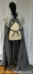 Cloak:3627, Cloak Style:Full Circle Cloak, Cloak Color:Slate Grey, Fiber / Weave:100% Wool and Synthetic Fur, Cloak Clasp:Mongolian Celtic Knot<br>Tibetan pattern<br>Silver/Grey trim ties, Hood Lining:N/A<br>Fur collar, Back Length:59&quot;, Neck Length:24&quot;, Seasons:Spring, Fall, Note:This half circle cloak is inspired<br>by the Stark family tree.<br>Unisex and versatile, this cloak<br>could be used over tunics, armor<br>or dresses as the perfect finishing touch.<br>It is a striped slate grey color and<br>uses the &quot;Mongolian Celtic Knot,<br>Tibetan patternSilver/Grey&quot; trim<br>as way of closure. Neutral<br>and cold like the unforgiving winter.<br>100% wool with synthetic fur,<br>hand wash and line dry..