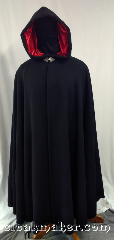 Cloak:3628, Cloak Style:Full Circle Cloak, Cloak Color:Black, Fiber / Weave:100% Wool, Cloak Clasp:Triple Medallion, Hood Lining:Red Polyester Velvet, Back Length:56&quot;, Neck Length:23.5&quot;, Seasons:Southern Winter, Spring, Fall, Note:This full circle cloak is perfect<br>for adding just a touch of<br>drama and elegance.<br>Made of soft, breathable 100% wool<br>with a bright red polyester moleskin hood<br>lining, and finished with a pewter clasp.<br>Dry clean only..