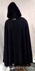 Cloak:3629, Cloak Style:Full Circle Cloak, Cloak Color:Black, Fiber / Weave:100% Wool, Cloak Clasp:Triple Medallion, Hood Lining:Green Rayon Velvet, Back Length:51&quot;, Neck Length:24&quot;, Seasons:Southern Winter, Spring, Fall, Note:This full circle cloak is perfect<br>for adding just a touch of<br>drama and elegance.<br>Made of soft, breathable 100% wool<br>with a bright dark emerald green<br>polyester moleskin hood lining<br>and finished with a pewter clasp.<br>Dry clean only..