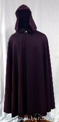 Cloak:3630, Cloak Style:Full Circle Cloak, Cloak Color:Aubergine Purple, Fiber / Weave:Wool Suiting, Cloak Clasp:Vale, Hood Lining:Black Polyester Moleskin, Back Length:51&quot;, Neck Length:21&quot;, Seasons:Summer, Spring, Fall, Note:Light weight, worsted wool suiting cloak<br>with an eggplant purple color and<br>a black polyester moleskin hood lining..