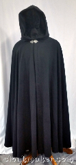 Cloak:3631, Cloak Style:Full Circle Cloak, Cloak Color:Black, Fiber / Weave:100% Wool, Cloak Clasp:Triple Medallion, Hood Lining:Black Polyester Moleskin, Back Length:56&quot;, Neck Length:25.5&quot;, Seasons:Southern Winter, Spring, Fall, Note:This full circle cloak is perfect<br>for adding just a touch of<br>drama and elegance.<br>Made of soft, breathable 100% wool<br>with a black polyester moleskin hood<br>lining, and finished with a pewter clasp.<br>Dry clean only..