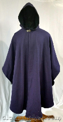 Cloak:3634, Cloak Style:Ruana, Cloak Color:Purple Striped with<br>Black Twill, Fiber / Weave:Wool Suiting, Cloak Clasp:Vale, Hood Lining:Black wool, Back Length:50&quot;, Neck Length:22&quot;, Seasons:Winter, Southern Winter, Fall, Spring, Note:This ruana style cloak is a purple<br>color striped with black twill.<br>Lined with a softer black wool.<br>Dry clean only..