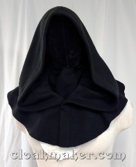 Cloak:3636, Cloak Style:Half Circle, Cloak Color:Black, Fiber / Weave:Polyester fleece, Cloak Clasp:Hook and eye, Hood Lining:Unlined, Back Length:9&quot;, Neck Length:22.5&quot;, Seasons:Southern Winter, Spring, Fall, Note:This short cowl style cloak is great for<br>wearing over other costuming pieces<br>that need a dramatic hood.<br>Think Kylo Ren.<br>Machine wash cold and tumble dry..