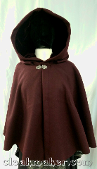 Cloak:3637, Cloak Style:Shaped Shoulder Cloak, Cloak Color:Burgundy Wine, Fiber / Weave:80% wool, 20% nylon, Cloak Clasp:Vale, Hood Lining:wine silk rayon velvet, Back Length:24&quot;, Neck Length:21.5&quot;, Seasons:Winter, Southern Winter, Fall, Spring, Note:A beautiful short length burgundy wine<br>colored cloak, with shaped shoulders<br>and a wine colored silk rayon<br>velvet hood lining.<br>Dry clean only..
