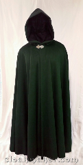 Cloak:3640, Cloak Style:Full Circle Cloak, Cloak Color:Forest Green, Fiber / Weave:80% wool, 20% nylon, Cloak Clasp:Triple Medallion, Hood Lining:black polyester moleskin, Back Length:56&quot;, Neck Length:24&quot;, Seasons:Winter, Southern Winter, Fall, Spring, Note:A forest green full circle cloak with a<br>black polyester moleskin hood lining.<br>Dry clean only..