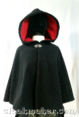 Cloak:3641, Cloak Style:Full Circle Cloak, Cloak Color:Black, Fiber / Weave:wind block fleece, Cloak Clasp:Vale, Hood Lining:self lining red, Back Length:23&quot;, Neck Length:22&quot;, Seasons:Southern Winter, Spring, Fall, Note:This is a black colored full circle cloak,<br>it is self lined with cherry red.<br>Wind blocking fleece material,<br>machine wash cold using mild detergent<br>and tumble dry on low..