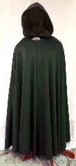Cloak:3642, Cloak Style:Full Circle Cloak, Cloak Color:Forest Green, Fiber / Weave:80% wool, 20% nylon, Cloak Clasp:Triple Medallion, Hood Lining:brown cotton velvet, Back Length:58&quot;, Neck Length:22&quot;, Seasons:Winter, Southern Winter, Fall, Spring, Note:This full circle cloak is a forest green<br>color with a brown cotton<br>velvet hood lining.<br>Dry clean only..