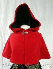 Cloak:3645, Cloak Style:Shaped Shoulder Cloak, Cloak Color:Cherry Red, Fiber / Weave:Windblock Fleece, Cloak Clasp:Vale, Hood Lining:Red Self Lining, Back Length:15&quot;, Neck Length:22&quot;, Seasons:Southern Winter, Spring, Fall, Note:This is a cherry red colored shaped<br>shoulder cloak, it is self lined with black.<br>Wind blocking fleece material,<br>machine wash cold using mild<br>detergent and tumble dry on low.<br>It is marked down because the<br>seams have extra stitching..