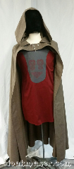 Cloak:3650, Cloak Style:Half Circle, Cloak Color:Greige, Fiber / Weave:100% wool, Cloak Clasp:Buttons, Hood Lining:Unlined, Back Length:51&quot;, Neck Length:23&quot;, Seasons:Spring, Fall, Note:Hobbit style half circle cloak with buttons.<br>It is a greyish beige color.<br>100% wool, dry clean only.<br>Pictured on tunic J561<br>tunic sold separately..