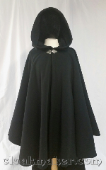 Cloak:3655, Cloak Style:Full Circle Cloak, Cloak Color:Black, Fiber / Weave:Medium weight WindPro, Cloak Clasp:Triple Medallion, Hood Lining:self lined sherpa, Back Length:37&quot;, Neck Length:21&quot;, Seasons:Southern Winter, Winter, Spring, Fall, Note:This full circle cloak is made from black<br>medium weight WindPro fleece<br>with a sherpa inner lining.<br>It is complimented by a silver tone<br>Triple Medallion cloak clasp..