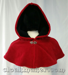 Cloak:3660, Cloak Style:Shaped Shoulder Cloak, Cloak Color:Red, Fiber / Weave:Windbloc Fleece, Cloak Clasp:Vale, Hood Lining:self lining black, Back Length:12&quot;, Neck Length:21&quot;, Seasons:Southern Winter, Winter, Note:This red shaped shoulder cloak is<br>made from Windbloc Fleece and<br>is self lined with black.<br>Wind blocking fleece material,<br>machine wash cold using mild<br>detergent and tumble dry on low..