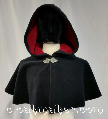 Cloak:3661, Cloak Style:Full Circle Cloak, Cloak Color:Black, Fiber / Weave:Windbloc Fleece<br>from Malden Mills, Cloak Clasp:Triple Medallion, Hood Lining:self lining raspberry, Back Length:16&quot;, Neck Length:22&quot;, Seasons:Southern Winter, Winter, Note:This black full circle cloak is made from<br>Windbloc Fleece and is self lined<br>with a raspberry color.<br>Wind blocking fleece material,<br>machine wash cold using mild<br>detergent and tumble dry on low..