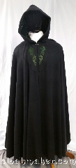 Cloak:3664, Cloak Style:Full Circle Cloak, Cloak Color:Black, Fiber / Weave:100% wool, Cloak Clasp:TBD, Hood Lining:green velvet, Back Length:59&quot;, Neck Length:24&quot;, Seasons:Winter, Southern Winter, Note:A full circle cloak with gorgeous green<br>embroidery of dragons and hippocampus,<br>with a deep green velvet hood lining.<br>Clasp TBD.<br>Made from 100% wool, dry clean only..