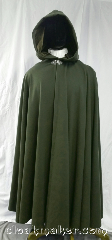 Cloak:3665, Cloak Style:Full Circle Cloak, Cloak Color:Olive Green, Fiber / Weave:100% wool, Cloak Clasp:Triple Medallion, Hood Lining:Brown velvet, Back Length:53.5&quot;, Neck Length:21&quot;, Seasons:Winter, Southern Winter, Fall, Spring, Note:An olive green color full circle cloak<br>with a brown velvet hood lining.<br>Made from felted wool melton,<br>has some decent wind resistance<br>and is soft to the touch.<br>Made from 100% wool<br>Dry clean only..