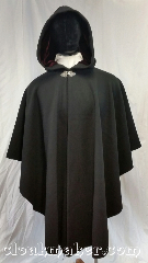 Cloak:3669, Cloak Style:Cape / Ruana, Cloak Color:Black, Fiber / Weave:100% wool, Cloak Clasp:Triple Medallion, Hood Lining:Dark red velvet, Back Length:45&quot;, Neck Length:24&quot;, Seasons:Winter, Southern Winter, Fall, Spring, Note:A black ruana style cloak with a<br>dark red velvet hood lining.<br>Heavy felted wool melton,<br>great winter weight and<br>excellent wind resistance.<br>Made from 100% wool<br>Dry clean only..