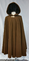 Cloak:3678, Cloak Style:Full Circle Cloak, Cloak Color:Cinnamon, Fiber / Weave:80% wool, 20% nylon, Cloak Clasp:Goldtone Triple Medallion, Hood Lining:Seal brown cotton velvet, Back Length:44.5&quot;, Neck Length:20&quot;, Seasons:Southern Winter, Fall, Spring, Note:This cinnamon and dark brown<br>full circle cloak has a subtle tiny<br>checkerboard pattern.<br>Complimented by a goldtone<br>triple medallion clasp closure<br>and a seal brown cotton velvet hood lining.<br>Dry clean only..