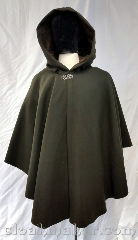 Cloak:3685, Cloak Style:Cape / Ruana, Cloak Color:Seaweed Green, Fiber / Weave:80% wool, 20% nylon, Cloak Clasp:Vale, Hood Lining:Brown cotton velvet, Back Length:35&quot;, Neck Length:22&quot;, Seasons:Winter, Southern Winter, Fall, Spring, Note:Seaweed green colored ruana style cloak<br>with a brown cotton velvet hood lining<br>Features a silvertone vale clasp closure.<br>Wool blend, dry clean only..