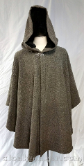 Cloak:3688, Cloak Style:Cape / Ruana, Cloak Color:Basket weave grey, tan, black, Fiber / Weave:100% wool, Cloak Clasp:Vale, Hood Lining:Black moleskin, Back Length:35&quot;, Neck Length:24&quot;, Seasons:Spring, Fall, Note:Basket weave grey, tan and black<br>ruana style cloak with a black moleskin<br>hood lining.<br>Features a silvertone vale clasp closure.<br>100% wool, dry clean only..