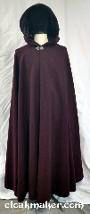 Cloak:3692, Cloak Style:Full Circle Cloak, Cloak Color:Burgundy Wine, Fiber / Weave:100% wool, Cloak Clasp:Vale, Hood Lining:Black crushed velvet, Back Length:52&quot;, Neck Length:22&quot;, Seasons:Spring, Fall, Southern Winter, Note:A burgundy wine colored full circle<br>cloak with a silvertone vale clasp<br>and a black crushed<br>velvet hood lining.<br>100% wool, dry clean only..